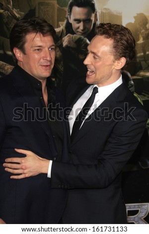 LOS ANGELES - NOV 4:  Nathan Fillion, Tom Hiddleston at the Thor: The Dark World' Premiere at El Capitan Theater on November 4, 2013 in Los Angeles, CA
