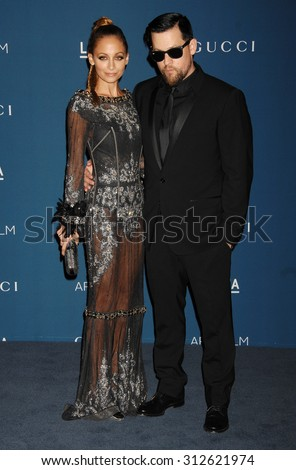 LOS ANGELES - NOV 2:  Nicole Richie and husband Joel Madden arrives at the LACMA 2013 Art and Film Gala  on November 2, 2013 in Los Angeles, CA                 - stock photo