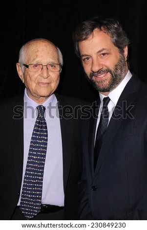 LOS ANGELES - NOV 11:  Norman Lear, Judd Apatow at the PEN Center USA 24th Annual Literary Awards at the Beverly Wilshire Hotel on November 11, 2014 in Beverly Hills, CA - stock photo