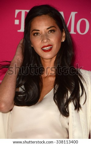 LOS ANGELES - NOV 10:  Olivia Munn at the T-Mobile Un-carrier X Launch Celebration at the Shrine Auditorium on November 10, 2015 in Los Angeles, CA - stock photo