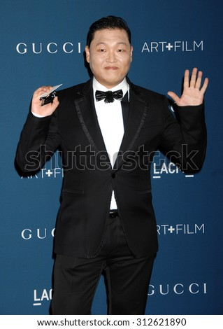 LOS ANGELES - NOV 2:  PSY arrives at the LACMA 2013 Art and Film Gala  on November 2, 2013 in Los Angeles, CA                 - stock photo