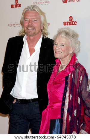 LOS ANGELES - NOV 11:  Richard Branson, Eve Branson arrives at the Rock the Kabash Gala 2010 at Dorothy Chandler Pavilion  on November 11, 2010 in Los Angeles, CA - stock photo