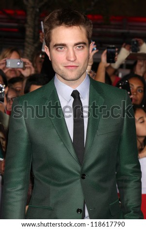 """LOS ANGELES - NOV 12:  Robert Pattinson arrive to the 'The Twilight Saga: Breaking Dawn - Part 2"""" Premiere at Nokia Theater on November 12, 2012 in Los Angeles, CA - stock photo"""