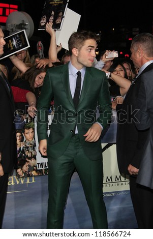 LOS ANGELES - NOV 12: Robert Pattinson at the premiere of 'The Twilight Saga: Breaking Dawn - Part 2' at Nokia Theater L.A. Live on November 12, 2012 in Los Angeles, California - stock photo