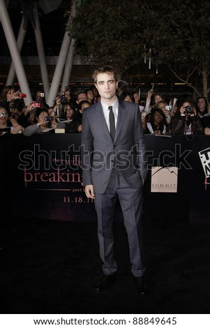 LOS ANGELES - NOV 14: Robert Pattinson at the World Premiere of 'The Twilight Saga: Breaking Dawn Part 1' held at Nokia Theater L.A. Live on November 14, 2011 in Los Angeles, California