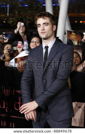 LOS ANGELES - NOV 14: Robert Pattinson at the World Premiere of 'The Twilight Saga: Breaking Dawn Part 1' held at Nokia Theater L.A. Live on November 14, 2011 in Los Angeles, California - stock photo