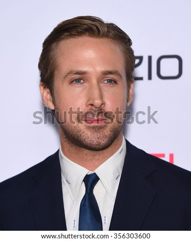 LOS ANGELES - NOV 12:  Ryan Gosling arrives to the AFI Fest 2015 Closing Gala 'The Big Short' World Premiere  on November 12, 2015 in Hollywood, CA.                 - stock photo