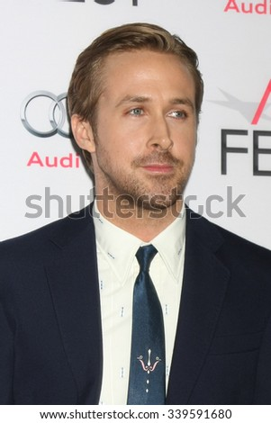 LOS ANGELES - NOV 12:  Ryan Gosling at the AFI Fest 2015 - Presented by Audi - The Big Short Gala Screening at the TCL Chinese Theater on November 12, 2015 in Los Angeles, CA - stock photo