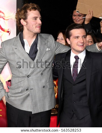 LOS ANGELES - NOV 18:  Sam Claflin, Josh Hutcherson at the The Hunger Games:  Catching Fire Premiere at Nokia Theater on November 18, 2013 in Los Angeles, CA