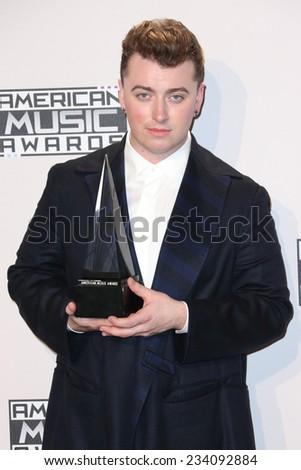 LOS ANGELES - NOV 23:  Sam Smith at the 2014 American Music Awards - Press Room at the Nokia Theater on November 23, 2014 in Los Angeles, CA - stock photo