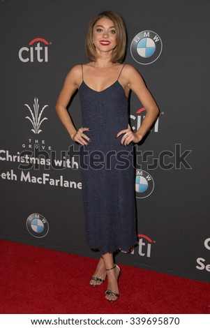 LOS ANGELES - NOV 14:  Sarah Hyland at the The Grove Christmas with Seth MacFarlane 2015 at the The Grove on November 14, 2015 in Los Angeles, CA - stock photo