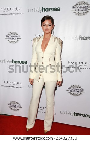 LOS ANGELES - NOV 8:  Selena Gomez at the 3rd Annual Unlikely Heroes Awards Dinner And Gala at the Sofitel Hotel on November 8, 2014 in Beverly Hills, CA - stock photo
