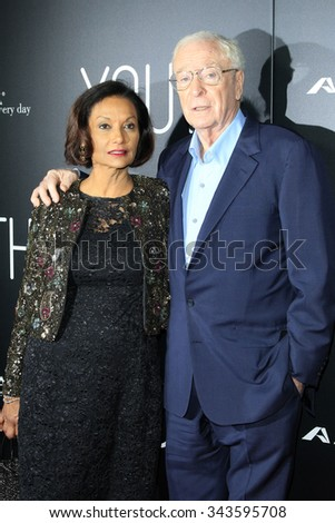 """LOS ANGELES - NOV 17:  Shakira Caine, Michael Caine at the """"Youth"""" LA Premiere at the Directors Guild of America on November 17, 2015 in Los Angeles, CA - stock photo"""