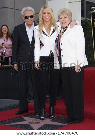 LOS ANGELES - NOV 08:  Shakira & Parents arrives to the Walk of Fame Ceremony for Shakira  on November 08, 2011 in Hollywood, CA                 - stock photo