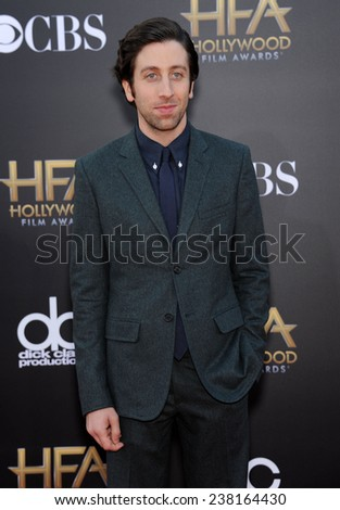 LOS ANGELES - NOV 14:  Simon Helberg arrives to the The Hollywood Film Awards 2014 on November 14, 2014 in Hollywood, CA                 - stock photo