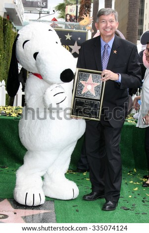 LOS ANGELES - NOV 2:  Snoopy, Leron Gubler at the Snoopy Hollywood Walk of Fame Ceremony at the Hollywood Walk of Fame on November 2, 2015 in Los Angeles, CA - stock photo