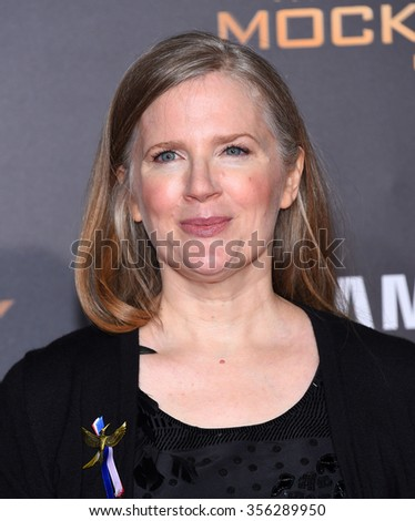 "LOS ANGELES - NOV 16:  Suzanne Collins arrives to the ""The Hunger Games: Mocking Jay - Part 2"" Los Angeles Premiere  on November 16, 2015 in Los Angeles, CA.                 - stock photo"