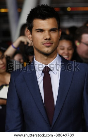 LOS ANGELES - NOV 14: Taylor Lautner at the World Premiere of 'The Twilight Saga: Breaking Dawn Part 1' held at Nokia Theater L.A. Live on November 14, 2011 in Los Angeles, California - stock photo