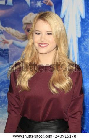 LOS ANGELES - NOV 19: Taylor Spreitler at the premiere of Walt Disney Animation Studios' 'Frozen' at the El Capitan Theater on November 19, 2013 in Los Angeles, CA - stock photo