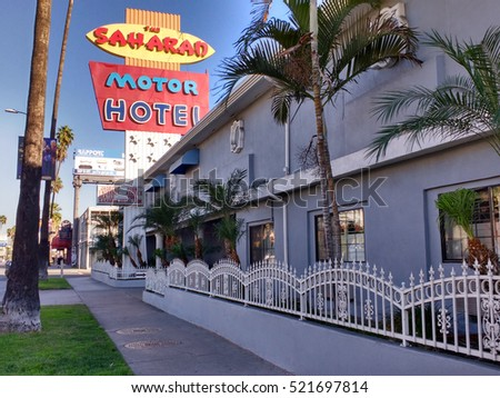 LOS ANGELES, NOV 13TH, 2016: The Saharan Motor Hotel on Sunset Boulevard in Hollywood, which has been featured in several movies and TV shows and was home to Patrick Swayze when he first moved to L.A.