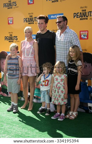 """LOS ANGELES - NOV 1:  Tori Spelling, Jack McDermott, Dean McDermott; and kids at the """"The Peanuts Movie"""" Los Angeles Premiere at the Village Theater on November 1, 2015 in Westwood, CA - stock photo"""