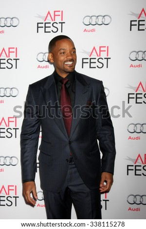 """LOS ANGELES - NOV 10:  Will Smith at the AFI Fest 2015 Presented by Audi - """"Concussion"""" Premiere at the TCL Chinese Theater on November 10, 2015 in Los Angeles, CA - stock photo"""
