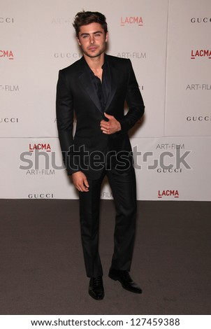 LOS ANGELES - NOV 5:  ZAC EFRON arriving to LACMA hosts Art + Film Gala 2011  on November 5, 2011 in Los Angeles, CA - stock photo