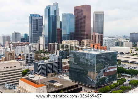 LOS ANGELES - NOVEMBER 1: Aerial view of Downtown Los Angeles. November 1, 2015 in Los Angeles, CA