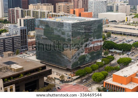 LOS ANGELES - NOVEMBER 1: Aerial view of Downtown Los Angeles. November 1, 2015 in Los Angeles, CA - stock photo