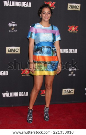 "LOS ANGELES - OCT 2:  Alanna Masterson at the ""The Walking Dead"" Season 5 Premiere at Universal City Walk on October 2, 2014 in Los Angeles, CA - stock photo"