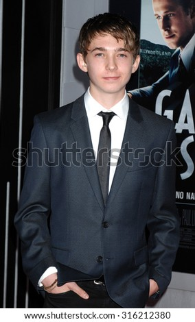 LOS ANGELES - OCT 4:  Austin Abrams arrives at the Gangster Squad World Premiere  on January 7, 2013 in Hollywood, CA              - stock photo