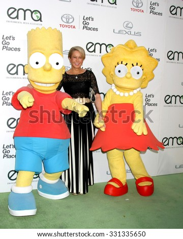 LOS ANGELES - OCT 24:  Bart Simpson Charachter, Yeardley Smith, Lisa Simpson charachter at the Environmental Media Awards 2015 at the Warner Brothers Studio Lot on October 24, 2015 in Burbank, CA - stock photo