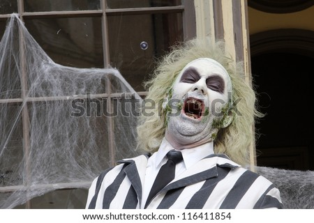 LOS ANGELES - OCT 21: Beetlejuice at the Camp Ronald McDonald for Good Times 20th Annual Halloween Carnival at the Universal Studios Backlot on October 21, 2012 in Los Angeles, California - stock photo