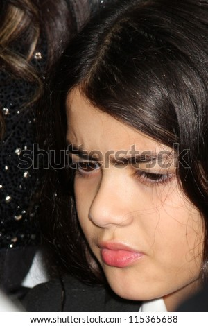 "LOS ANGELES - OCT 11:  Blanket Jackson arrives at the ""Mr. Pink"" Energy Drink Launch at Beverly Wilshire Hotel on October 11, 2012 in Beverly Hills, CA - stock photo"