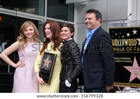 LOS ANGELES - OCT 3:  Chloe Grace Moretz, Julianne Moore, Kimberly Peirce at the Hollywood Walk of Fame Ceremony for Julianne Moore at W Hollywood Hotel on October 3, 2013 in Los Angeles, CA