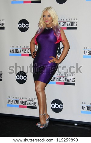 LOS ANGELES - OCT 9:  Christina Aguilera attends the 40th Anniversary American Music Awards nominations press conference at JW Marriott at LA Live on October 9, 2012 in Los Angeles, CA - stock photo