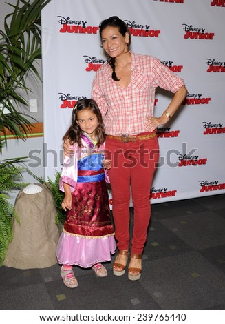 """LOS ANGELES - OCT 18:  Constance Marie & Luna Marie Katich arrives to the """"Jake and the Never Land Pirates: Battle for the Book"""" Los Angeles Premiere on October 18, 2014 in Burbank, CA                 - stock photo"""