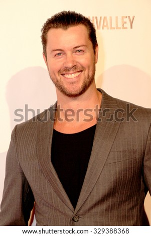 """LOS ANGELES- OCT 17: Dan Feuerriegel arrives at the """"Death Valley"""" film premiere Oct. 17, 2015 at Raleigh Studios in Los Angeles, CA. - stock photo"""