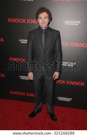 """LOS ANGELES - OCT 7:  Daryl Sabara at the """"Knock Knock"""" Los Angeles Premiere at the TCL Chinese 6 Theaters on October 7, 2015 in Los Angeles, CA - stock photo"""