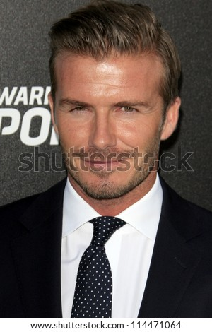 LOS ANGELES - OCT 30:  David Beckham arrives at the Time Warner Sports Launch of TWC Sportsnet at TWC Sports Studios on October 30, 2012 in El Segundo, CA - stock photo