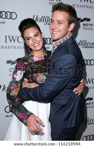 """LOS ANGELES - OCT 20:  Elizabeth Chambers, Armie Hammer arrives at  the """"Reel Stories, Real Lives"""" Event at Milk Studios on October 20, 2012 in Los Angeles, CA - stock photo"""