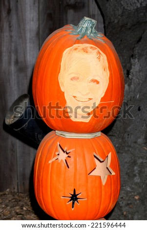 LOS ANGELES - OCT 4:  Ellen DeGeneres Carved Pumpkin at the RISE of the Jack O'Lanterns at Descanso Gardens on October 4, 2014 in La Canada Flintridge, CA - stock photo