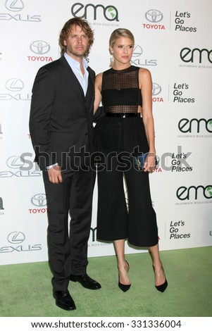 LOS ANGELES - OCT 24:  Eric Christian Olsen, Sarah Wright Olsen at the Environmental Media Awards 2015 at the Warner Brothers Studio Lot on October 24, 2015 in Burbank, CA - stock photo