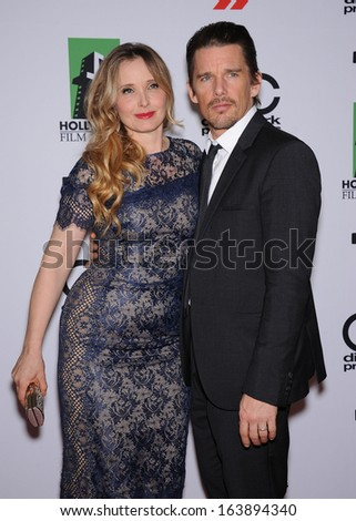 LOS ANGELES - OCT 21:  Ethan Hawke & Julie Delpy arrives to Hollywood Film Awards Gala 2013  on October 21, 2013 in Beverly Hills, CA                 - stock photo