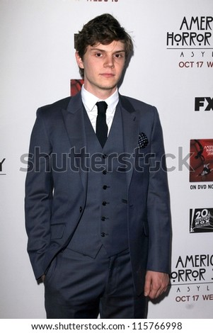 "LOS ANGELES - OCT 13:  Evan Peters arrives at the ""American Horror Story: Asylum"" Premiere Screening at Paramount Theater on October 13, 2012 in Los Angeles, CA - stock photo"