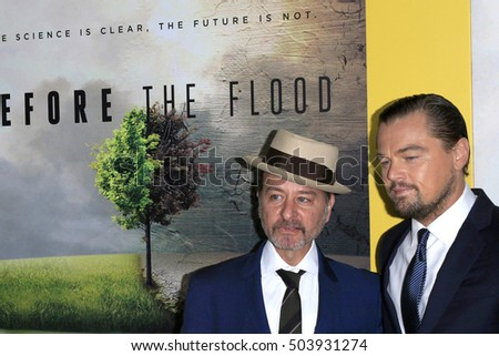 "LOS ANGELES - OCT 24:  Fisher Stevens, Leo Dicaprio at the Screening Of National Geographic Channel's ""Before The Flood"" at Bing Theater At LACMA on October 24, 2016 in Los Angeles, CA"