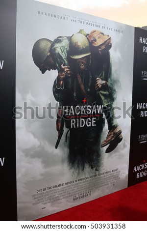 "LOS ANGELES - OCT 24:  Hacksaw Ridge Poster, Atmosphere at the ""Hacksaw Ridge"" Screening at Samuel Goldwyn Theater on October 24, 2016 in Beverly Hills, CA"
