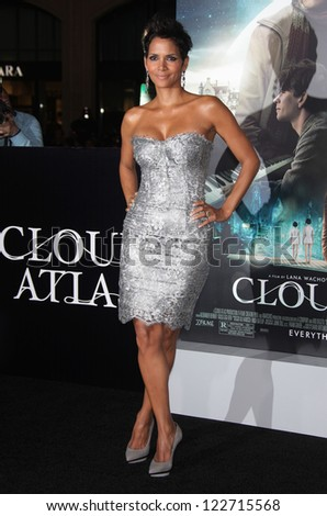 """LOS ANGELES - OCT 24:  Halle Berry arriving to """"Cloud Atlas"""" Los Angeles Premiere  on October 24, 2012 in Hollywood, CA - stock photo"""