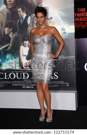 "LOS ANGELES - OCT 24:  Halle Berry arriving to ""Cloud Atlas"" Los Angeles Premiere  on October 24, 2012 in Hollywood, CA - stock photo"