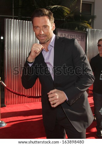 "LOS ANGELES - OCT 02:  HUGH JACKMAN arrives to the ""Real Steel"" Los Angeles Premiere  on Oct 02, 2011 in Universal City, CA                 - stock photo"